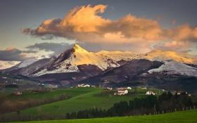 Картинка облака, долина, небо, деревушка, горы, поля