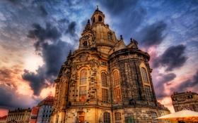 Обои небо, облака, пейзаж, тучи, дома, Дрезден, hdr