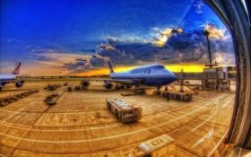 Обои небо, облака, самолеты, иллюминатор, аэропорт