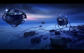 Обои море, vessels, летающие прудики