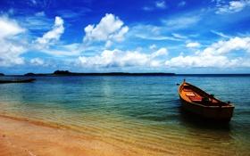 Обои лодка, берег, море