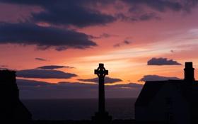 Обои Bardsey Island, Wales, In the Middle, крест, Уэльс