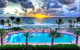 Обои закат, облака, бассейн, небо, hdr, пальмы, море