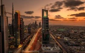 Обои город, огни, дома, вечер, выдержка, Дубай, Dubai