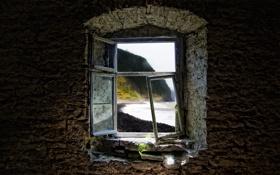 Картинка берег, склон, окно, разруха, плющ