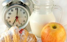 Обои яблоко, завтрак, молоко, будильник, кувшин, джем, рогалик