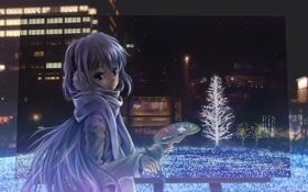 Обои аниме, кисть, ночь, краски, картина, художница