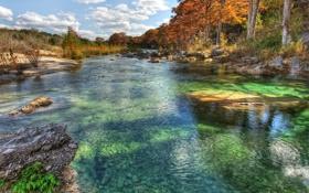 Картинка осень, небо, трава, облака, деревья, река, камни