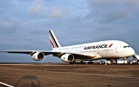 Обои Самолет, Стоит, Авиация, A380, Airbus, Air France, Авиалайнер