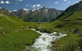Обои небо, трава, вода, облака, снег, горы, река