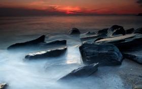 Обои море, небо, камни, берег, Закат