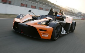 Обои авто, скорость, трасса, вид спереди, KTM, X-Bow, GT4