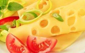 Обои помидор, аппетитно, ломти, сыр, перец