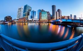 Картинка вода, город, океан, здания, USA, набережная, Бостон