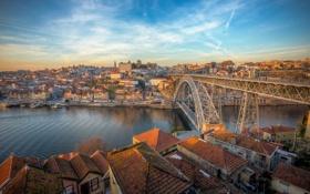 Обои мост, город, огни, река, утро, Portugal, Porto