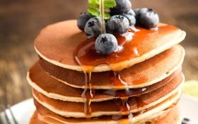 Картинка оладьи, мед, еда, блины, ягоды, черника, голубика