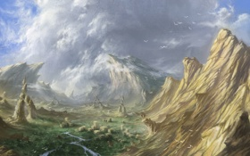 Обои долина, скалы, река, фантастика, зелень, вид, птицы