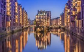 Обои мост, огни, дома, Германия, канал, Гамбург