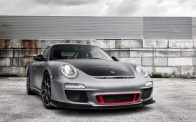 Обои небо, серый, забор, 911, Porsche, суперкар, порше