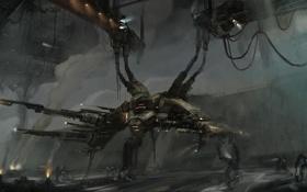 Обои провода, дым, робот, арт, ангар, фонарь, гигантский