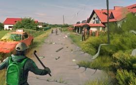 Картинка машина, люди, деревня, пацан