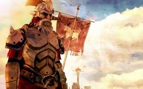 Обои armor, flag, warrior, fallout new vegas legion
