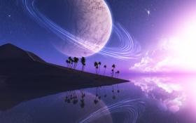 Обои облака, фантастика, небо, вода, песок, планета, арт