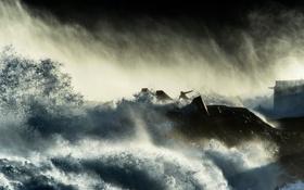 Картинка брызги, тучи, шторм, человек, буря
