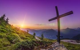 Обои пейзаж, горы, рассвет, крест, вершина
