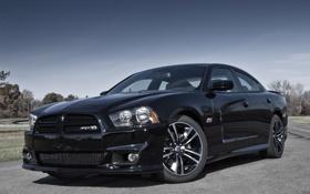 Обои небо, чёрный, мускул кар, додж, dodge, muscle car, charger