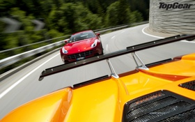Обои дорога, Ferrari, спойлер, Pagani, top gear, передок, суперкары