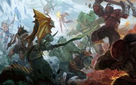 Картинка axe, Crystal Maiden, Bloodseeker, dota 2, Leviathan, moba, Rylai