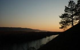 Обои Горы, Озеро, Закат, Дерево