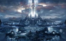 Обои город, вид, меч, арт, храм, водопады