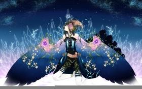 Картинка коса, рога, небо, Девушка, листья, корона, крылья