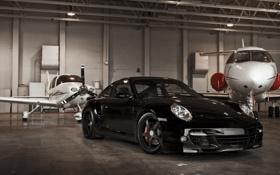 Обои чёрный, 997, Porsche, ангар, порше, black, Turbo