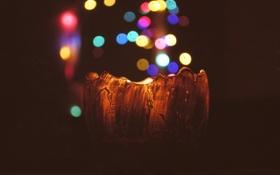Обои огни, фон, свеча, свечка, боке