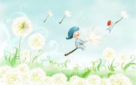 Картинка дети, фантазия, полёт, одуванчики, пушинки
