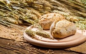 Картинка хлеб, колосья, пшено, выпечка, булочки
