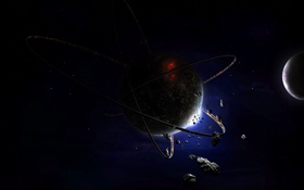 Картинка астероиды, звезды, кольца, планеты