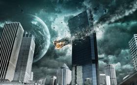 Картинка город, планета, астероид, разрушение, метеорит