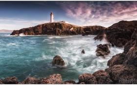 Картинка море, пейзаж, скалы, маяк
