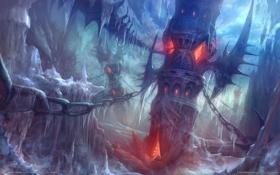 Обои лед, мост, огонь, башня, цепи, Aion