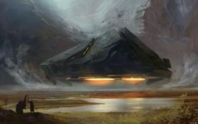 Картинка горы, животное, человек, корабль