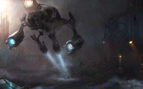 Картинка машина, ночь, город, огни, человек, робот, арт