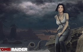 Обои гроза, девушка, тучи, Tomb Raider, сидит