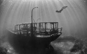 Обои фото, океан, человек, корабль, черно-белое, подводный мир, дайвер