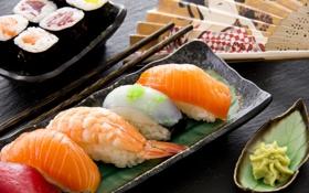 Обои блюдо, роллы, креветки, начинка, японская кухня, красная рыба