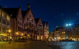 Обои площадь, Франкфурт-на-Майне, дома, Рёмерберг, ночь, Германия, огни