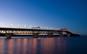 Обои мост, вода, огни